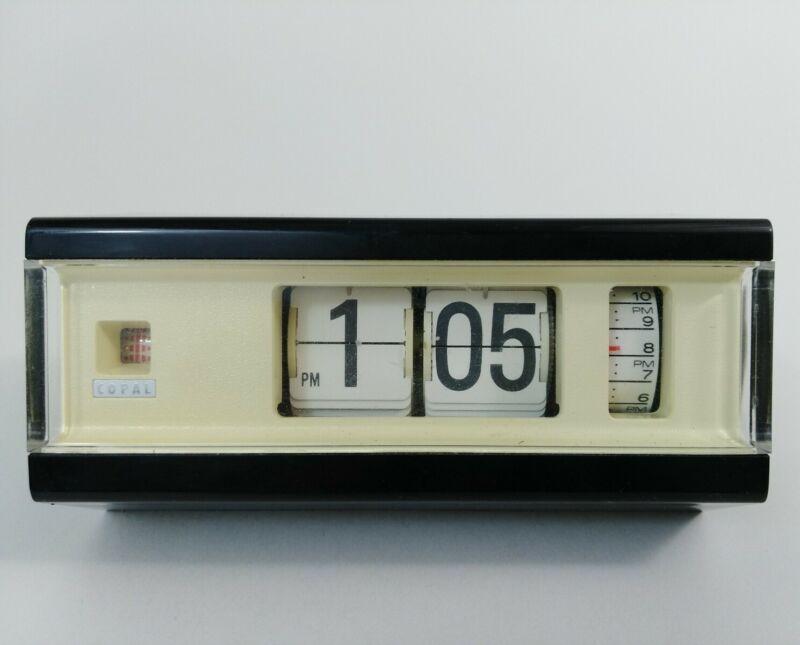 Vintage BLACK Copal Model 227 Flip Clock Alarm Japan 1960s - READ ENTIRE LISTING