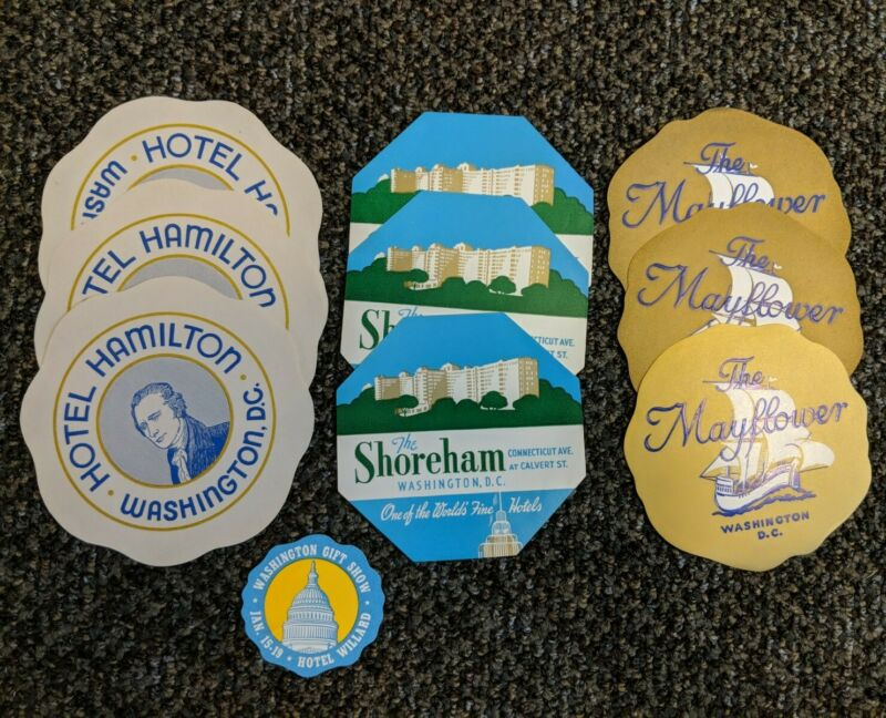 LOT Vintage Unused Washington DC Hotel Luggage Decal Hamilton Shoreham Mayflower