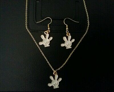 Fashion Disney Mickey Mouse Hand Jewelry Set Gold Crystal Earrings Necklace Disney Gold Jewelry Set