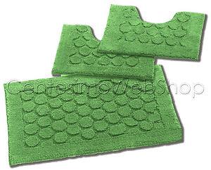 caricamento dellimmagine in corso parure bagno 3 pz cotone verde tappeto tappeti
