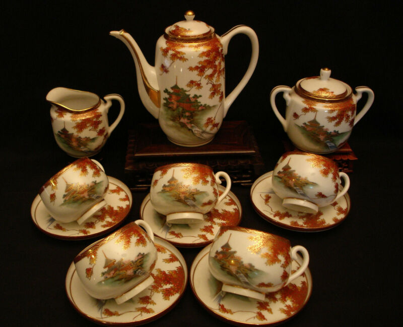 MARKED Uchida JAPANESE TAISHO SATSUMA TEA POT / EGG SHELL CUP & SAUCER SET