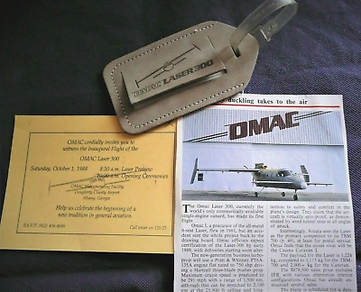 RARE Aviation History OMAC Laser 300 Luggage Tag Air & Cosmos 10-1988 ABY Flight