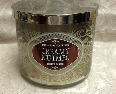 Bath & Body Works ~ CREAMY NUTMEG  LARGE 3 WICK CANDLE (14.5 oz)