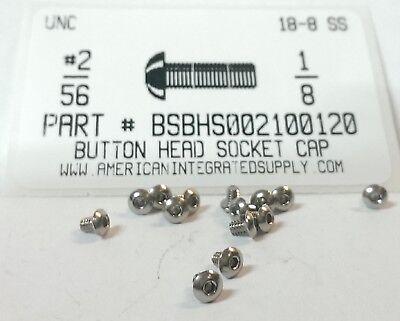 2-56x18 Button Head Hex Socket Cap Screws 18-8 Stainless Steel 50
