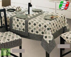 Copritavolo ovale 180x240 offerta grigio tovaglia jacquard - Copritavolo moderno ...