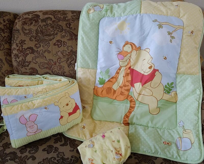 Disney Baby Pooh Tigger Piglet 3 Piece Crib Bedding Set Winnie The Pooh EUC