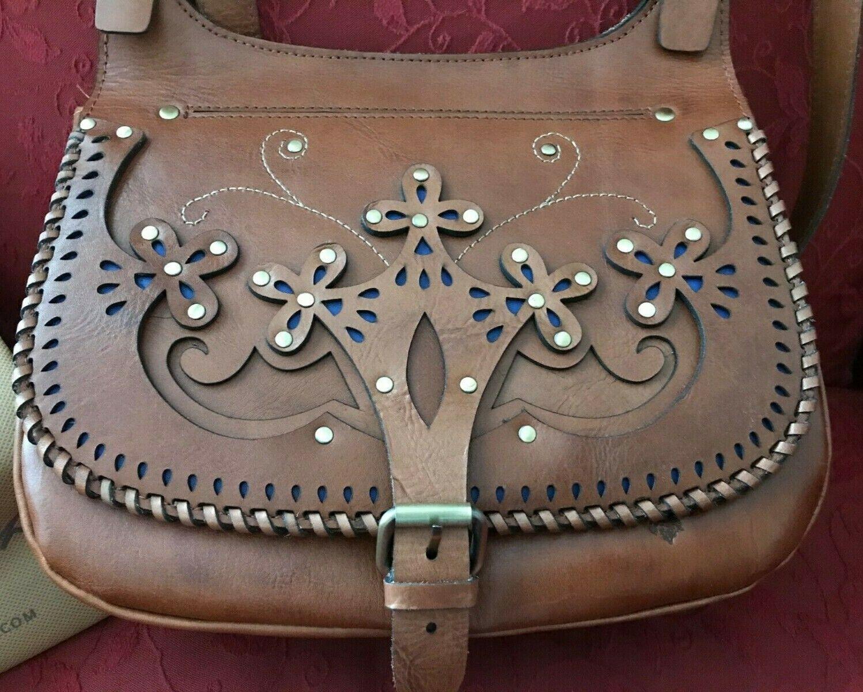 Patricia Nash Leather London Saddle Bag Western Cut Out - Go