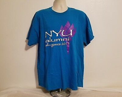 Nyu New York University Alumni All U Games 2013 Adult Blue Xl Tshirt