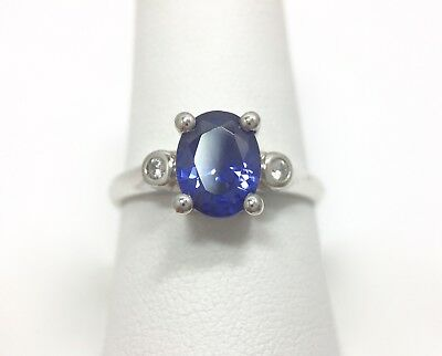 1ct Oval Cut Tanzanite Iolite Solitaire Accent Ring Size 9 3/4 Sterling Silve... ()
