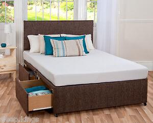 Memory foam bed divan mattress headboard 6ft 5ft king for Memory foam divan beds sale