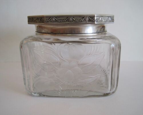 antique Hawkes Cut Glass Vanity Powder Jar - Sterling Silver Lid