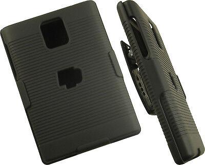BLACK RUBBERIZED HARD CASE + BELT CLIP HOLSTER STAND FOR BLACKBERRY PASSPORT Q30