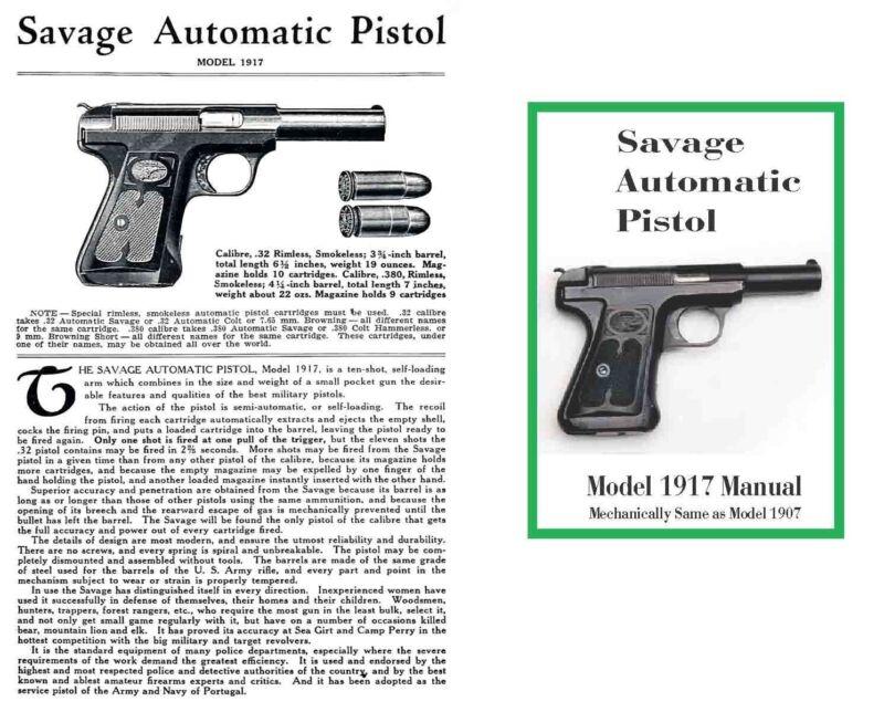 Savage Model 1907/1917 Automatic Pistol Manual