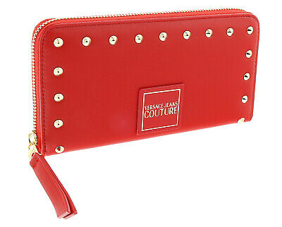 Versace Jeans Couture Red Studded All Around Long Wallet