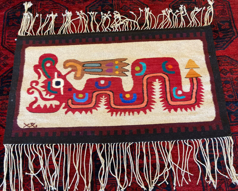 Unique Handwoven Signed Zapotec Textile Wall Hanging!