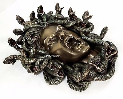 "15"" Medusa Head of Snakes Gothic Wall Decor Plaque Statue Bronze Finish"