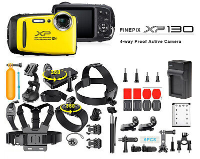 Fujifilm Fuji FinePix XP130 Camera - Yellow 40 +PCS Sports Accessory Bundle