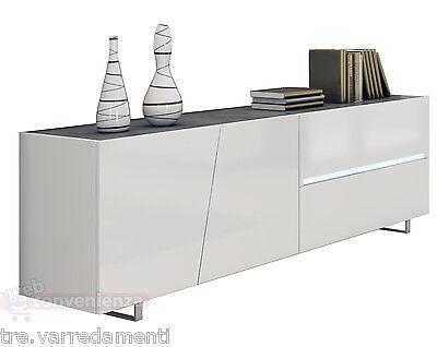 Credenza Moderna Bianco Opaco : Credenza moderna madia di design ante e cassetti bianco