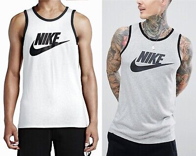 New Men's Nike Logo Vest Tank Top Sleeveless T-Shirt - White Grey