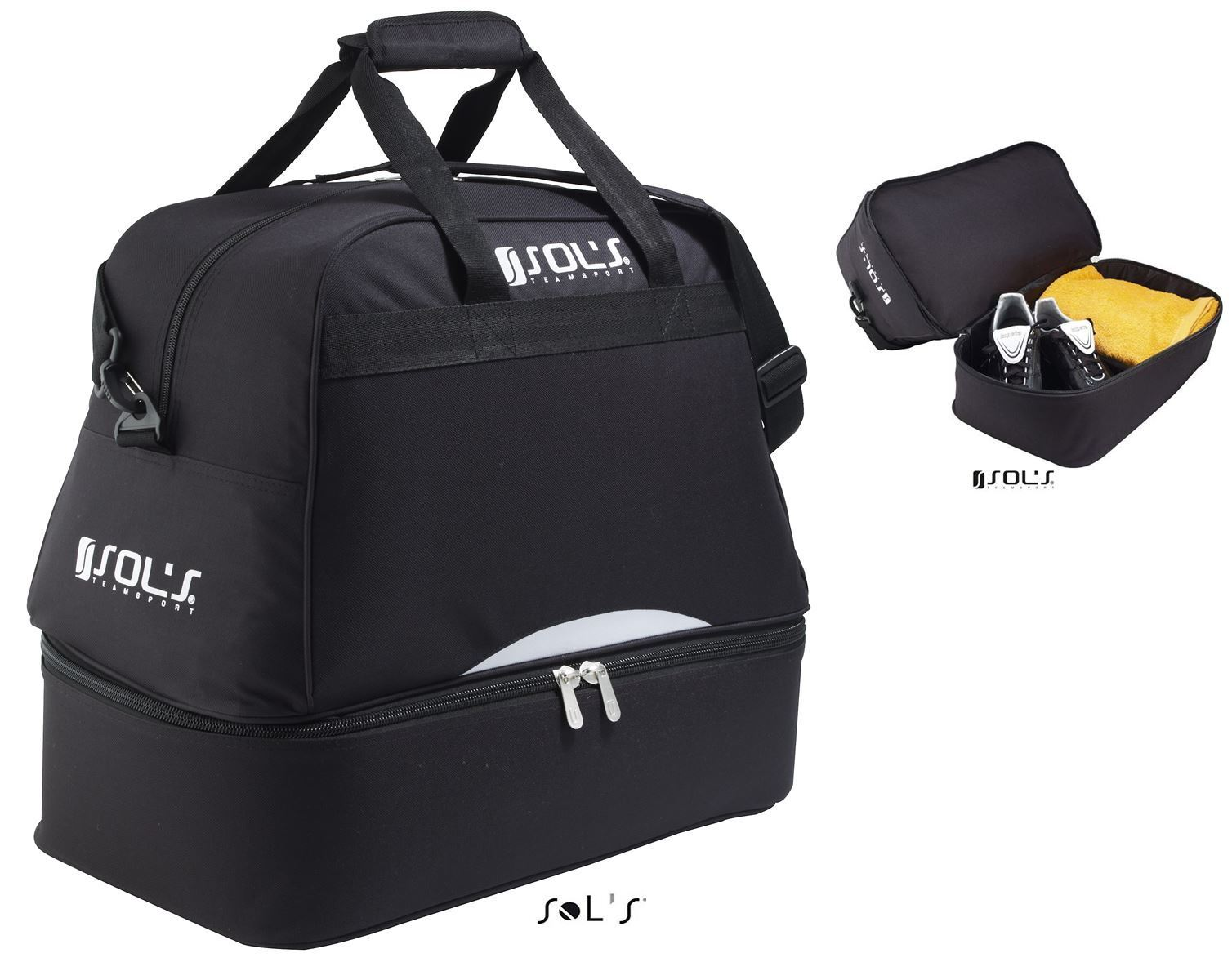 sol s calcio sports bag holdall shoe towel compartment