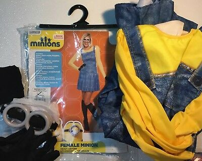 NEW MINIONS KEVIN Womens Halloween Costume Medium 6 8 10 Goggles Suit Dress Set