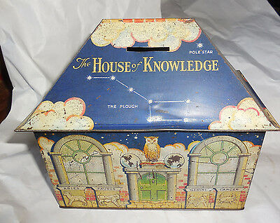 Vintage 1920s William Crawford Biscuit Tin House of Knowledge Zodiac Stars +