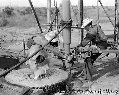 Adding Drill Pipe, Seminole Oil Field, Oklahoma - 1939 - Historic Photo Print - Oil Field Pipe