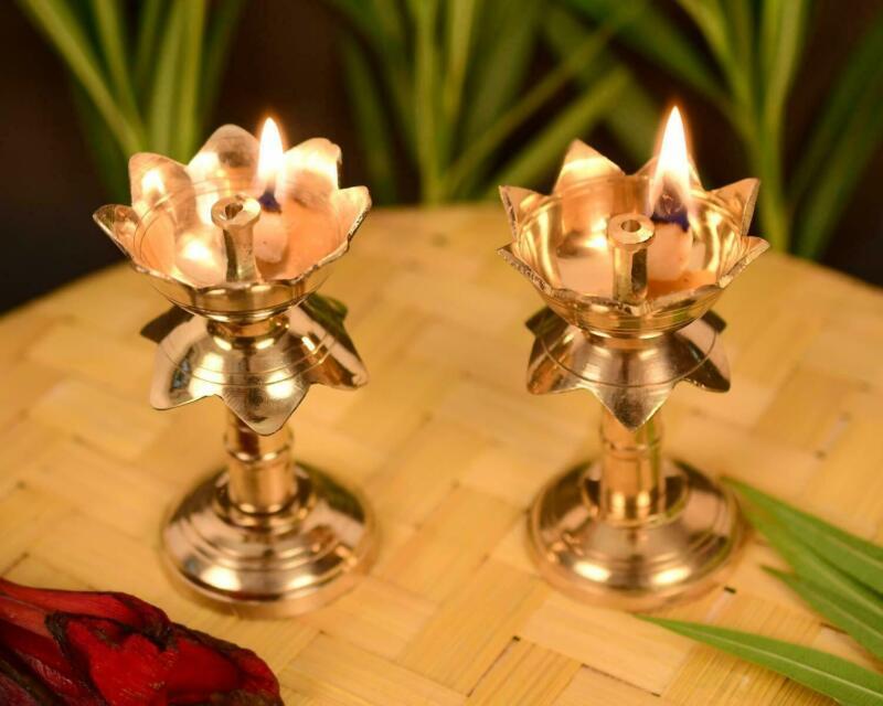 Lotus Shape Brass Oil Lamp for Diwali Navratri  set of 2 Diya 3.8 X 2.4 Inch
