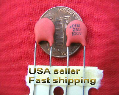 4 pcs -  .01uf  (0.01uf)  100v  ceramic capacitors FREE SHIPPING  (rd)