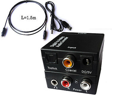 Digital Optical Coaxial Toslink to Analog RCA L/R Audio Converter Adapter + USB