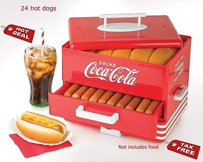Hot Dog Steamer Cooker Food Dinner Machine Warmer Picnic Cooking Red 24 Bun