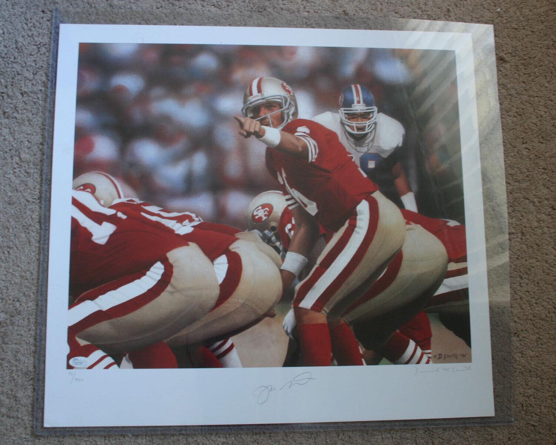 JOE MONTANA(S.F. 49ers) Signed Lithograph by Daniel Smith - JSA Cert. (0279)