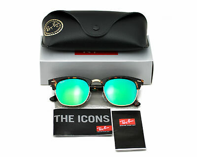 Ray-Ban RB3016 Clubmaster Flash Lenses 1145/19 Tortoise Frame/Green Unisex (Cheap Ray Ban Clubmaster Glasses)
