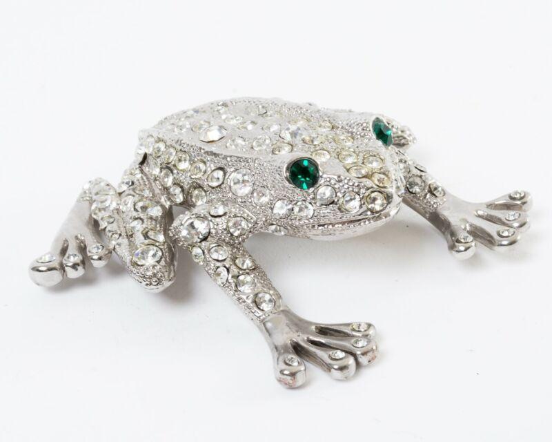 "Isabella Adams Rivet Frog Figurine Rhodium Plated Swarovski Crystals 3"" Long"