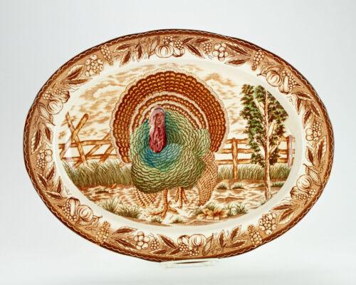 "Eddie Bauer Large Oval Turkey Platter, Vintage Brown Transfer 18 1/2"" by 14"""