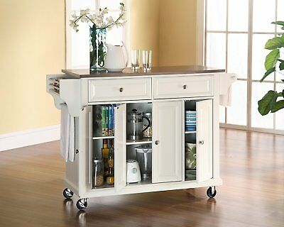 Crosley Furniture Rolling Kitchen Island with Stainless Steel Top & White Finish