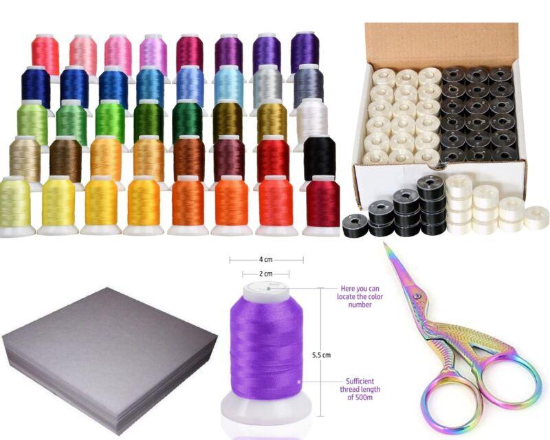 Brother Embroidery Starter Kit - 40 Color/36 bobbins/100 Backing Paper/ scissors