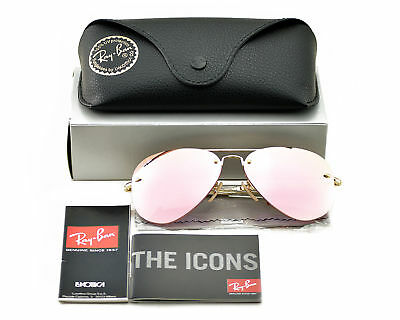 Ray-Ban RB3449 001/E4 Gold Frame/Pink Mirror Lenses Unisex Sunglasses (Ray Ban Aviators Sunglasses)