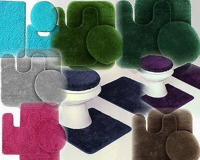 3PC #6 BANDED BATHROOM SET BATH MAT COUNTOUR RUG LID COVER PLAIN SOLID COLORS