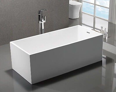 "Hceab Gnol 59"" Modern Rectangular Square Freestanding Acrylic Bathtub in White"