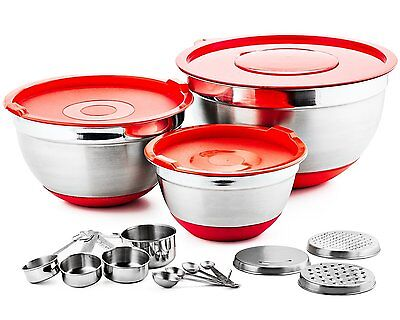 Chef's Star 17 Piece Stainless Steel Mixing Bowl Set w Anti-Slip Silicone Base