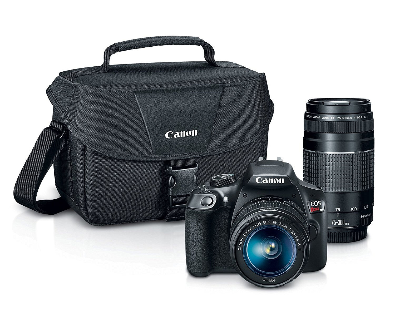 как выглядит Фотоаппарат Canon DSLR Camera Bundle, EOS Rebel T6 w 18-55mm, 75-300mm Lenses & Camera Case фото