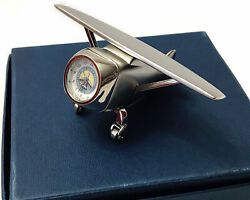 Single Wing Plane Cast Silver Home Office Desk Clock San Diego Airport Authority