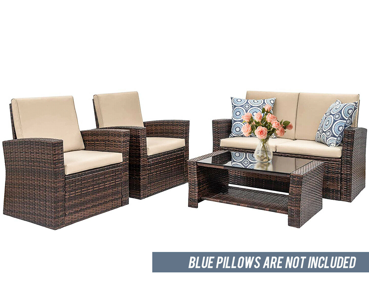 4 Pieces Outdoor Patio Furniture Sets Sectional Sofa Rattan Chair Wicker Set Home & Garden