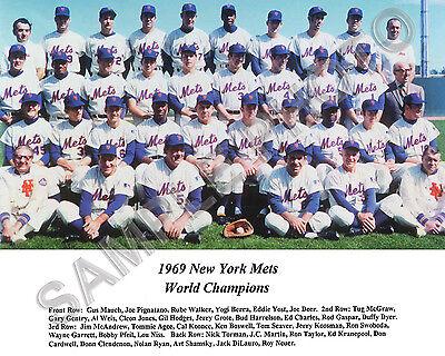 1969 NEW YORK METS WORLD SERIES CHAMPIONS BASEBALL TEAM 8X10