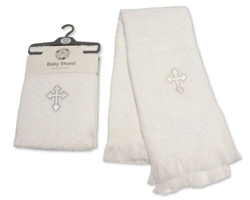 Baby Christening Baptism Blanket Shawl Wrap Silver Trim Footprints Cross Stars
