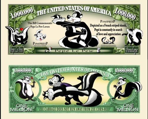 Pepe Le Pew Million Dollar Bill Fake Funny Money Novelty Note with FREE SLEEVE
