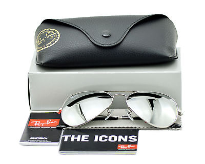 Ray Ban RB3025 Unisex Sunglasses Aviator Classic Silver /Grey Mirror 55mm (Ray Ban 3025 Mirror)