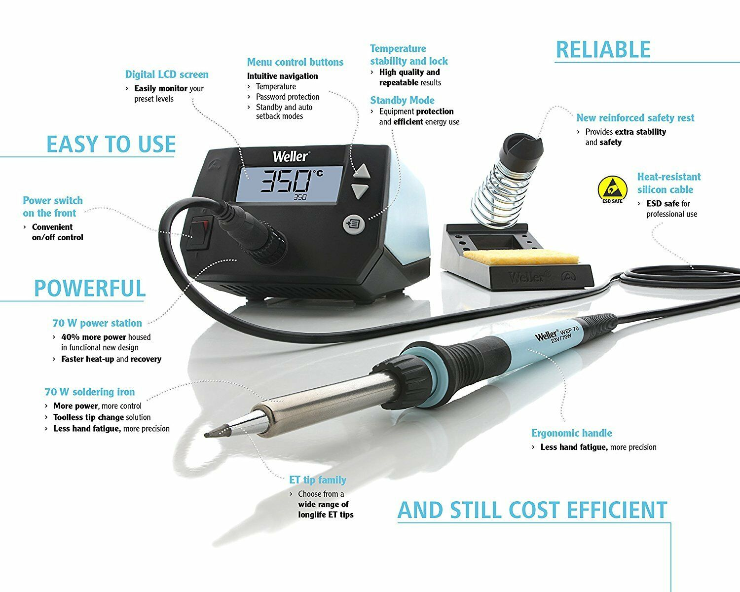 Weller WE1010NA 70 Watt Digital Soldering Station - 110/120 volt