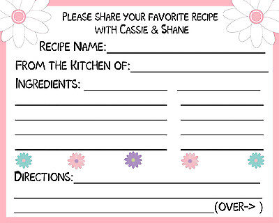 50 Recipe Cards Personalized for Bridal Shower - Flowers - Recipe Cards For Bridal Shower